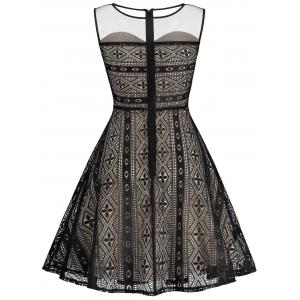 Fishnet Panel Skater Homecoming Formal Dress -