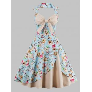 Plus Size Halter  Floral Print Vintage Pin Up Dress