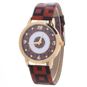 Faux Leather Color Block Analog Watch