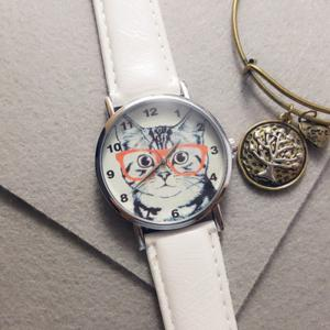 Cat In Glasses Number Analog Watch - WHITE