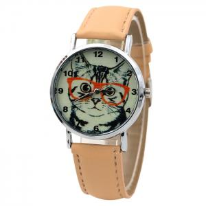 Cat In Glasses Number Analog Watch - Beige