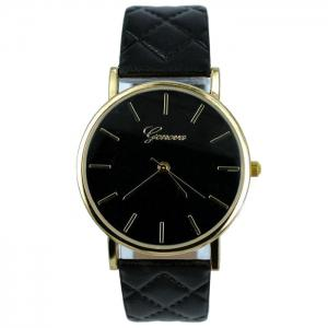 Minimalist Faux Leather Analog Wrist Watch - Black