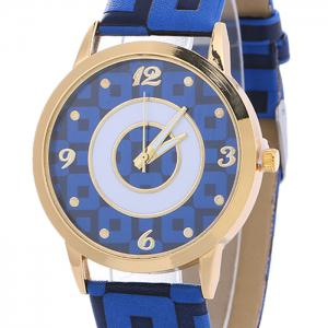 Faux Leather Color Block Analog Watch -