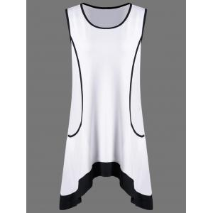 Plus Size Long Tank Top With Pockets - White - 5xl