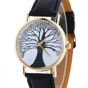 Faux Leather Tree Of Life Analog Watch -