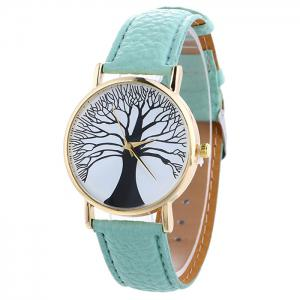 Faux Leather Tree Of Life Analog Watch