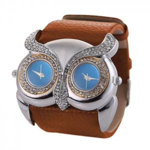 Rhinestone Owl Double Movement Analog Watch - Brown
