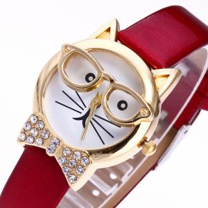 Rhinestone Cat With Glasses Analog Watch -