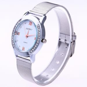 Steel Mesh Band Rhinestone Analog Watch -