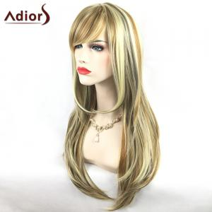 Adiors Long Slightly Curly Side Bang Party Synthetic Wig - COLORMIX
