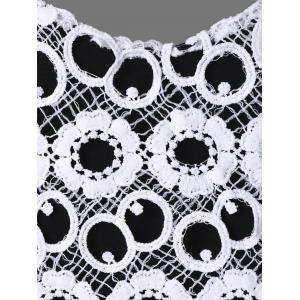 Lace Crochet Plus Size Babydoll Tank Tops - WHITE AND BLACK 4XL