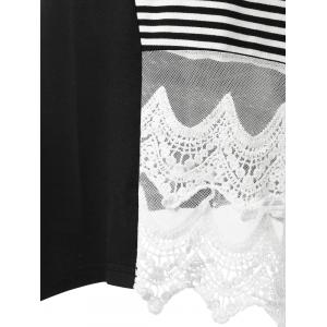 Striped Lace Insert Tunic Tank Top -