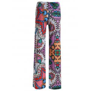 High Rise Allover Print Wide Leg Palazzo Pants - COLORMIX 2XL