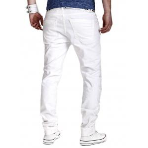 Zipper Fly Slimming Narrow Feet Distressed Pants - WHITE L