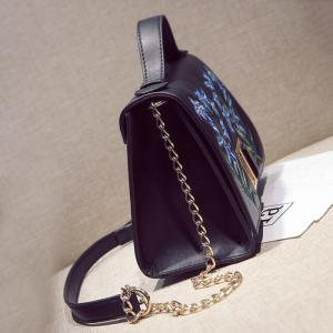 Embroidered Flap Handbag with Chains - BLACK