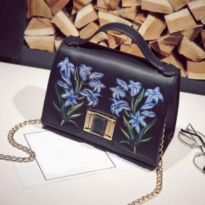 Embroidered Flap Handbag with Chains - Black - 38