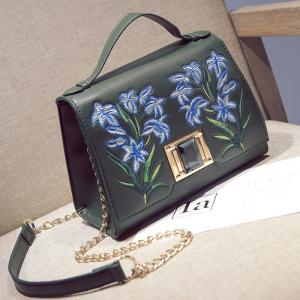 Embroidered Flap Handbag with Chains - Green