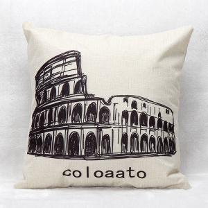 Landmark Sketch Pattern Decorative Linen Pillowcase