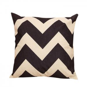 Zig Zag Sofa Decorative Linen Pillowcase - Black - 45*45cm