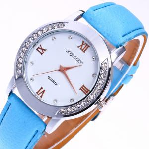 Rhinestone Faux Leather Strap Analog Watch -
