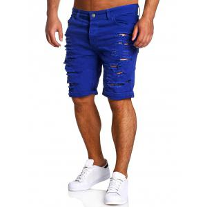 Zipper Fly Straight Leg Distressed Shorts - Sapphire Blue - 2xl