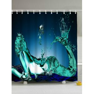 Mermaid Water Drop Print Waterproof Shower Curtain - Blue - 180*200cm