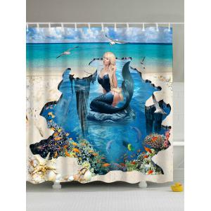 3D Mermaid Print Eco-Friendly Polyester Shower Curtain - Blue - 180*200cm