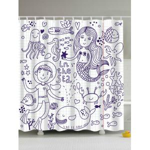 Cartoon Mermaid Sea Animal Extra Long Shower Curtain - White - 180*200cm