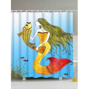 Sea Mermaid Print Waterproof Fabric Shower Curtain - Light Blue - 180*200cm