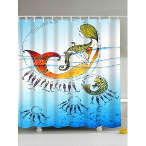 Cartoon Sea Mermaid Anti-bacteria Bath Shower Curtain - Light Blue - 180*200cm
