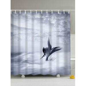 Fish Tail Eco-Friendly Polyester Shower Curtain - Grey White - 180*200cm