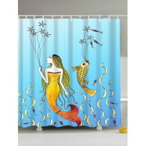 Cartoon Mermaid Fish Print Waterproof Shower Curtain - Light Blue - 180*200cm
