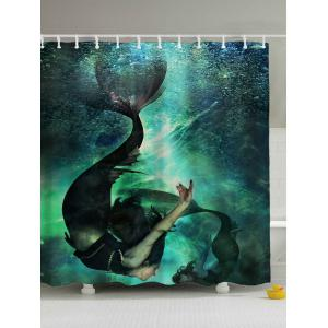 Deep Sea Mermaid Print Waterproof Shower Curtain - Blue - 180*200cm