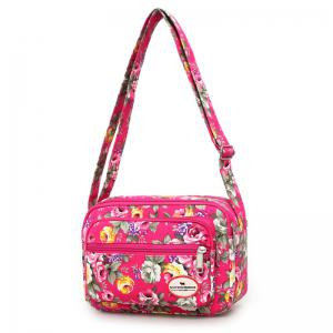 Canvas Flower Printed Colour Block Crossbody Bag - ROSE RED