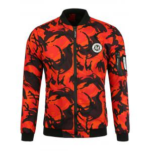 Patch Camo Jacket with Pocket Detail - Orange Red - S