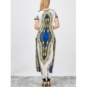 High Slit Africa Print Robe Dress with Pants - WHITE S