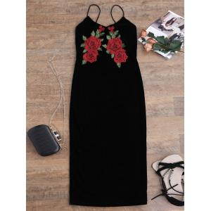 Embroidered Midi Bodycon Velvet Dress - Black - Xl