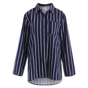 Plus Size Pocket Long Sleeve Stripe Shirt