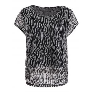 Plus Size Abstract Waved Short Sleeve T-Shirt