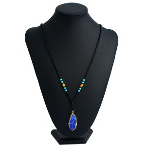 Geometric Beaded Faux Turquoise Pendant Necklace - BLUE