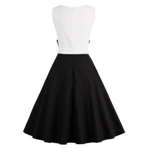 Color Block Cocktail Pin Up Dress - BLACK L