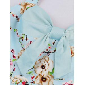 Halter Neck Floral Pin Up A Line Dress - CLOUDY M