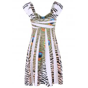 Leopard Peacock Feather Daytime Cap Dress - WHITE M