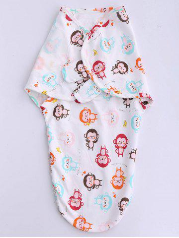 Buy Monkey Print Babies Hold Swaddling Blanket - WHITE  Mobile