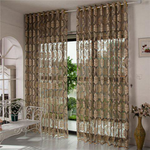 Trendy Europe Embroidery Tulle Fabric Sheer Window Curtain