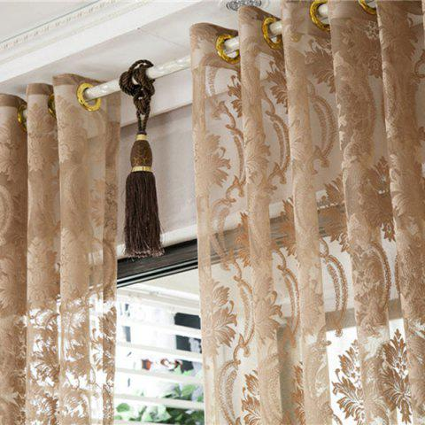 Fashion Europe Embroidery Tulle Fabric Sheer Window Curtain - W39 INCH *L98 INCH LIGHT COFFEE Mobile