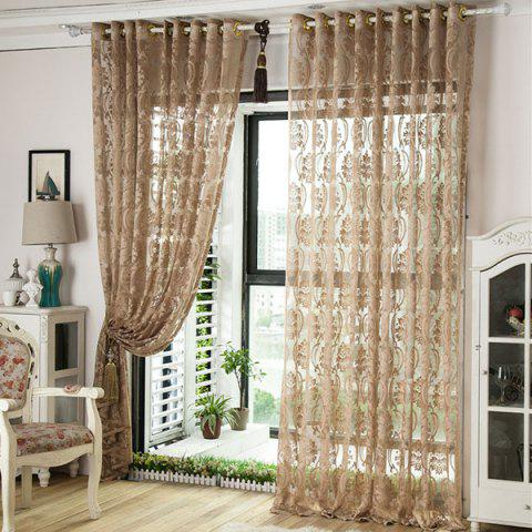 Hot Europe Embroidery Tulle Fabric Sheer Window Curtain - W39 INCH *L98 INCH LIGHT COFFEE Mobile