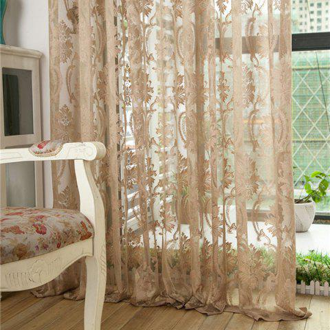 Shops Europe Embroidery Tulle Fabric Sheer Window Curtain - W39 INCH *L98 INCH LIGHT COFFEE Mobile