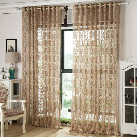 Shop Europe Embroidery Tulle Fabric Sheer Window Curtain - W39 INCH *L98 INCH LIGHT COFFEE Mobile