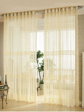 Flower Embroidery Sheer Grommet Top Tulle Curtain - Palomino - 100*250cm